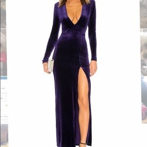 Long sleeve velvet purple deep v dress